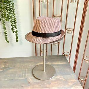 Houndstooth Fedora Hat Magenta Cream Black